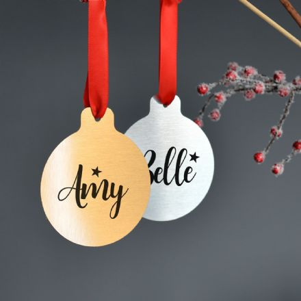 Personalised Silver Or Gold Metal Christmas Bauble Set